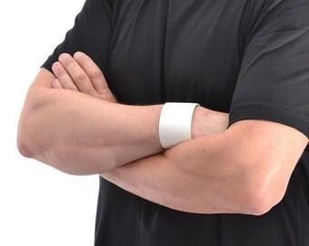 White Leather Bracelet For Men / Leather Band Bracelet, Leather Wristband / Leather Wrap Bracelet, Mens Bracelet, Leather Cuff Bracelet