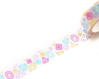 Cute Diamond Washi Tape 15mm/ Diamond Masking Tape/ Gift Wrapping Washi/ Planner Washi/ Deco Tape/Spring Summer Washi Tape