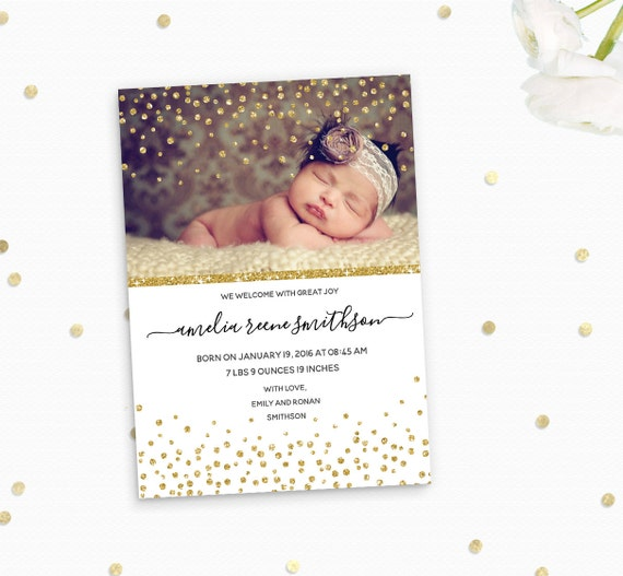 Glitter confetti Birth Announcement Photo Card - Gold glitter Silver Glitter Custom Birth Announcement Card