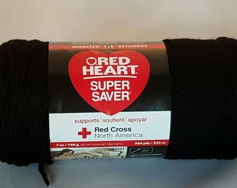 Red Heart Super Saver Yarn BLACK 7 oz Worsted Weight 4