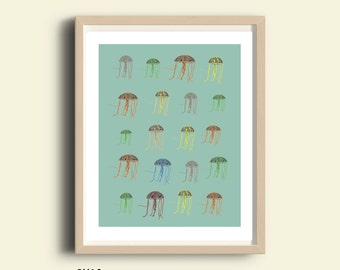 Jellyfish art, jellyfish pattern, instant download printable art, printable jellyfish, illustration print, nautical decor, wall decor, color