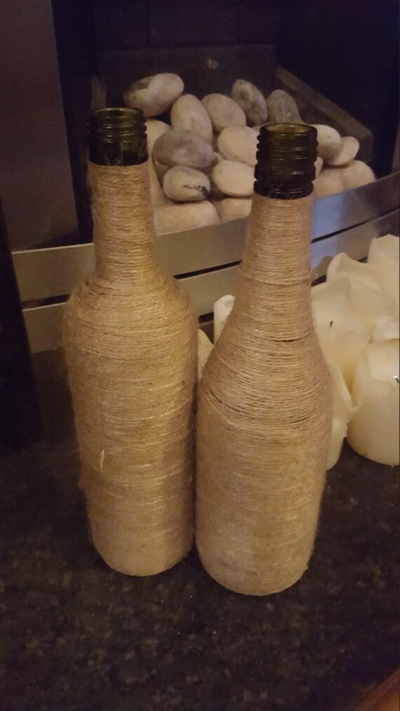 Twine Wrapped Wine Bottle.