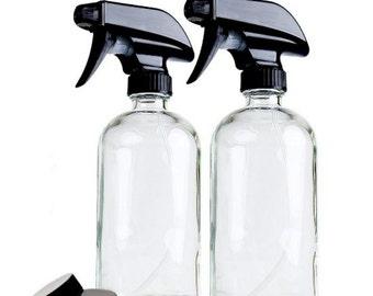 Pack of 2, Glass Spray Bottles, Amber, Cobalt Blue, Clear, DIY, Fabric refresher, Mist spray, Stream spray, UV Protection, 16 oz, 16 ounces