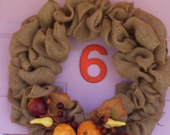 Harvest time burlap wreath