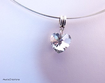 Heart necklace - crystal necklace - statment necklace-designer jewelry - Handmade