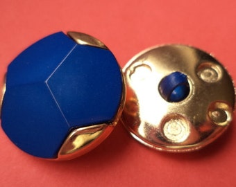 10 buttons blue gold 21mm (1645)