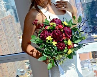 Wedding Bouquet, Fall Bridal Bouquet, Succulent Wedding Bouquet, Ranunkulus Bouquet, Realistic Silk Wedding Bouquet