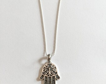 Silver Collection Hand of Fatima Hamsa Layered Necklace ball chain