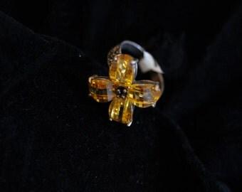 Lemon Topaz Flower Ring