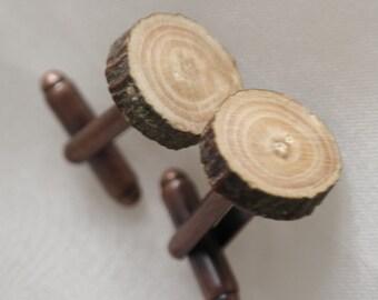 Wood cufflinks, Magical apple wood cuff links, rustic wedding natural wood bronze cufflinks, Apple tree cuff links, natural wood cuff links
