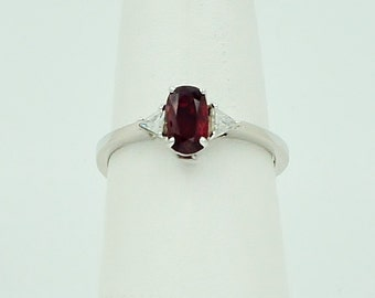 14k White Gold Ruby and Diamond Ring, diamond ring, size 6.5---price reduced