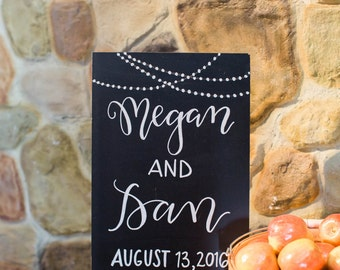 name sign   wedding sign   gift table decor   wedding decor   calligraphy chalkboard   chalkboard sign