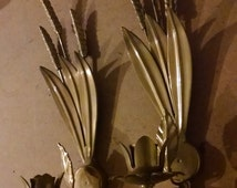 Vintage Ormolu Brass Candelabra Sconce - Flowers Leaves Sculpture - Figural Candle Holders Pair