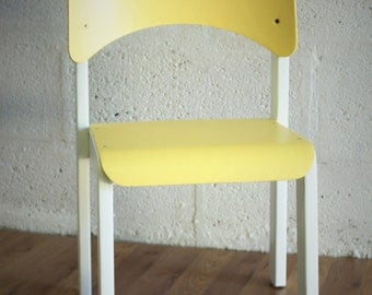 Vintage wooden child - yellow and white Chair