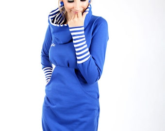 "MEKO ""Leny"" dress Royal Blue ladies long sleeve stripe"