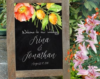 Printable welcome wedding sign. Chalkboard, flowers and citrus fruits wedding sign. Wedding reception entrance sign. Summer wedding sign