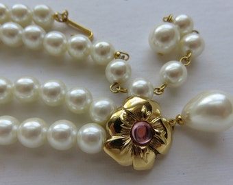 Vintage Marvella Faux Pearl Necklace Vintage Necklace Vintage Jewelry Costume Jewelry Faux White Pearls Gold Tone Flower Pendant