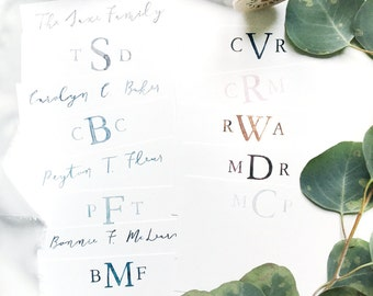Custom Watercolor Stationery, Personalized Stationery, Monogram Stationery, Watercolor Monogram, Stationery Set
