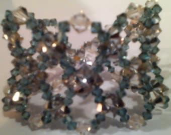 Teal and Silver-toned Swarovski Crystal Bracelet