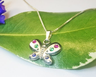Butterfly necklace, Girl Necklace, silver Butterfly necklace, Butterfly pendant, 925 Sterling Silver butterfly necklace set with gemstones.