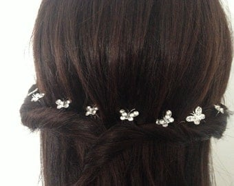 Bridal Crystal Butterfly Hair Pins. Wedding Hair Accessory. 10 Pcs