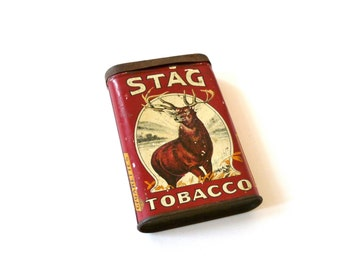 Old Cigarette tin.Vintage STAG TOBACCO pocket tin. American tobacco collectible tin box.