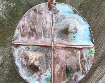 Folded Copper Enameled Pendant