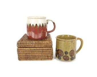 Vintage Pottery Mug Set -- Stoneware Mugs -- 70s Coffee Mugs -- Glazed Ceramic Mugs in Earth Tones -- Boho Kitchen Decor -- Pair of 2 Mugs