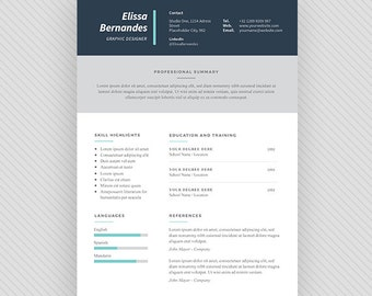 "Resume Template / CV Template + Cover Letter for MS Word and Photoshop | Instant Digital Download - ""Wafa"""