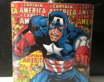 Captain America Comic Book Flask