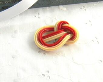 Vintage Bakelite Clip, Red Cream Nautical Clip, Noodle Bakelite, Dress Clip, Coat Clip, Noodle Clip