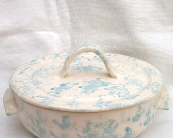 Blue & White Casserole Dish / Cheese Baker Ceramic Pottery