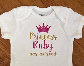 SALE! Glitter Princess Has Arrived Name Personalized Shirt, Girl Name Outfit, Name Announcement, Infant Onesie®,  Baby Shower Gift, Newborn