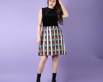 60s Vintage Black Velvet Check Dress