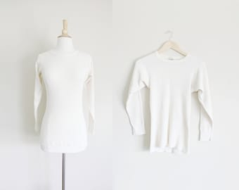 1980s Thermal Shirt | Thermal Knit Shirt | Cream Thermal Shirt | Waffle Knit | Northwest | Small