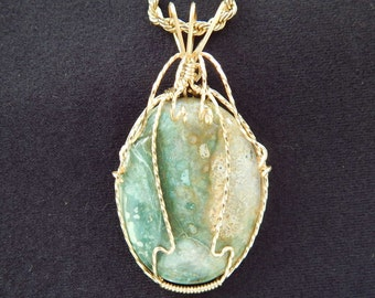 Natural Picture Jasper Pendant in gold filled wire Oval blue green picture jasper necklace