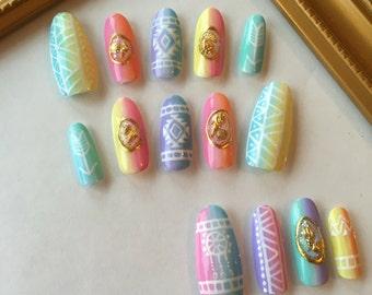 Rainbow Native American Tribal Nails