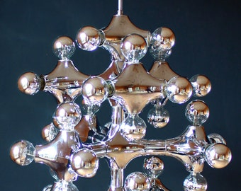 Gigantic COSACK ORGANIC MOLECULES Unique Chandelier Large Pendant Lamp Sputnik Mirrored German 60s 1970s Sputnik