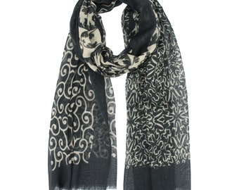 Black and White Winter Scarf for women infinity wool scarf scarf for winters