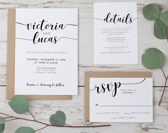 Printable wedding invitation set, Wedding invitation suite, Script wedding invitation, Modern wedding invitation