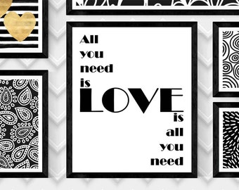 XO Lennon McCartney,All you need is LOVE-LOVE Is All You Need,Art Print,Beatles Art Print,Beatles Wall Art,Digital Beatles Print,8X10 Print