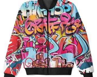 Grafitti Hip Hop Sublimation Front & Back Printed Zip Up Hip Hop Jacket