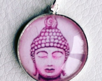 Buddha charm purple - drawed - 20mm