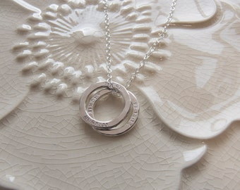 Personalised Small Circle Necklace. Stacking Ring Necklace.