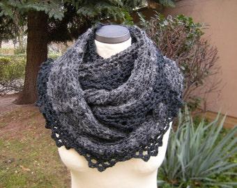 Loop circle scarf infinity scarf grey melange