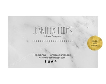 Custom business card, business card design, printable business card, marble business card, modern