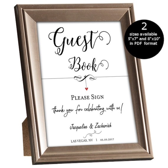 Free Wedding Book: SALE DIY Wedding Guest Book Sign Printable Sign Template