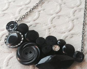 Black Button Assemblage Necklace