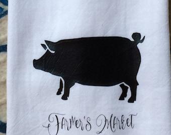 Farmhouse Kitchen Pig Farmer's Market Flour Sack Dish Towel Shabby Chic Cottage Decor Farm Font Floursack Tea Towels Christmas Wedding Gift