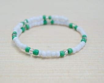 green, white and clear beaded bracelet